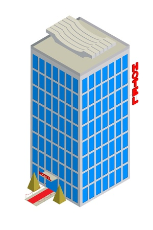 owning: Isometric drawing of a tall hotel over white