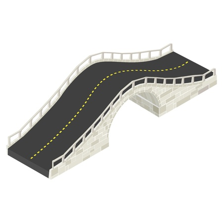 balustrade: Isometric drawing of a stone bridge against white background