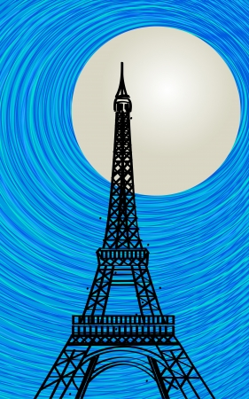 Romantic background with stylized Eiffel tower silhouette in the moonlight Stock Vector - 17503051
