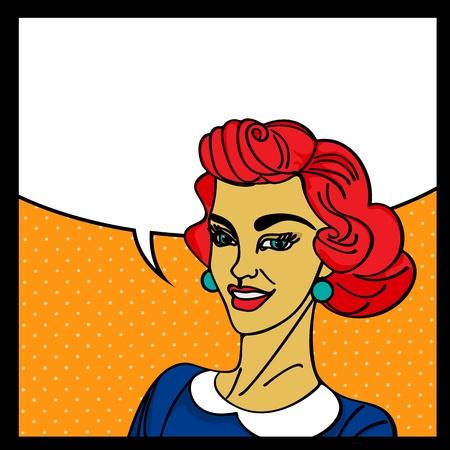 speak bubble: Pop art woman with speech bubble