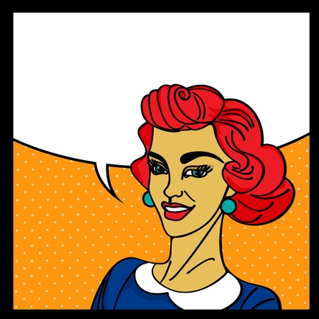 Pop art woman with speech bubble Stock Vector - 17503048