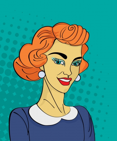 blab: Comic style drawing of a vintage retro woman