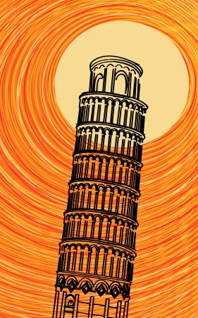 romanesque: Romantic background illustration with stylized Tuscany leaning tower of Pisa in the sun