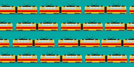 Seamless background pattern with old tram car Stock Vector - 17503055
