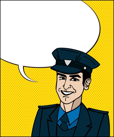 Comic style drawing of a police officer friendly face with speech bubble  Stock Vector - 17886707