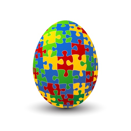 art piece: Jigsaw puzzle Easter egg against white background Illustration