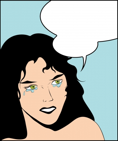 Illustration of a crying woman in a pop art comic style and speech bubble Vector