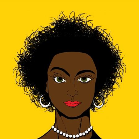 african woman face: Bella ragazza africana avatar americano in Pop Art stile di disegno comico