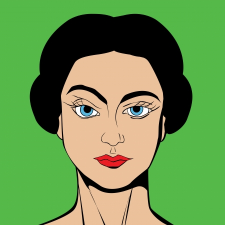 Girl avatar in Pop Art Comic style drawing Vector