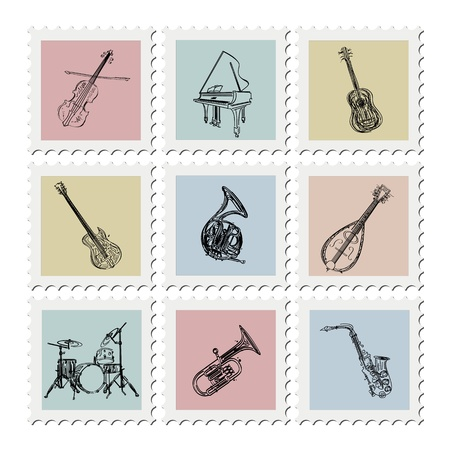 Stylized music instruments stamp collection on white background Vector