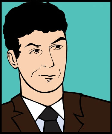 skeptic: Illustration of a skeptic man in a pop art comic style