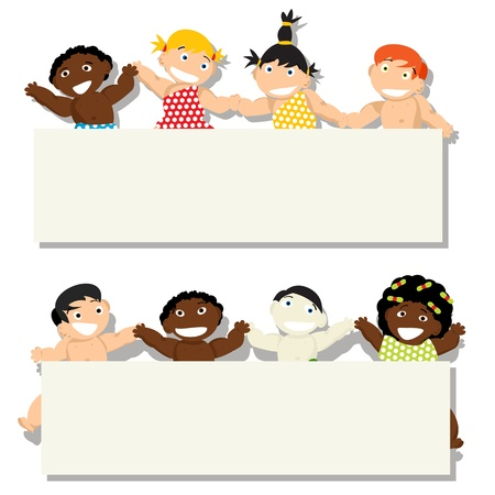 Baby collection of different ethnicity holding banner, isolated objects on white background