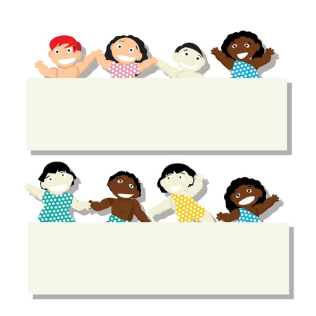 elementary age: New born babies of different ethnicity with banner, isolated objects on white background