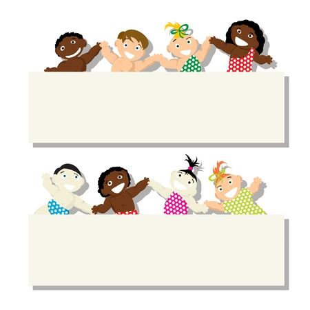 earth hands: Set of babies of different ethnicity with banner, isolated objects on white background