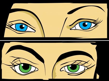eyes wide open: Pop Art  comic style drawign of women eyes