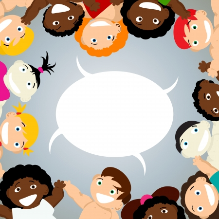 school baby: Children of different ethnicity and a speech bubble Illustration