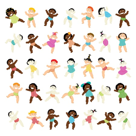 black baby girl: Large collection of multiracial babies over white background