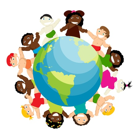Conceptual anti-racicsm illustration with new born babies of different ethnicitiy arround the globe Vector