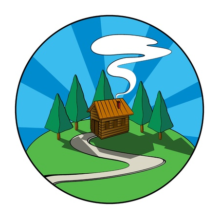 log cabin winter: Wooden house, cabin in the forest. Graphic icon. Illustration