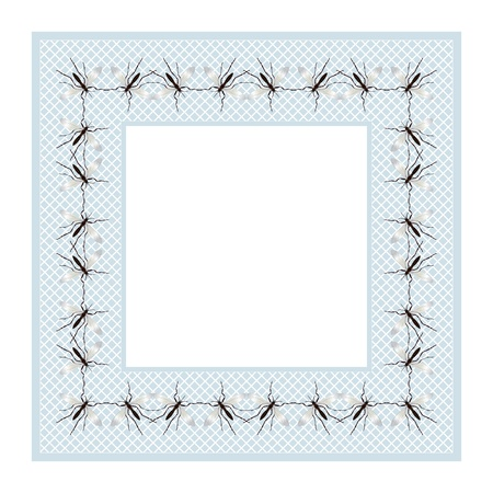 disease carrier: Decorative frame design with mosquitoes Illustration