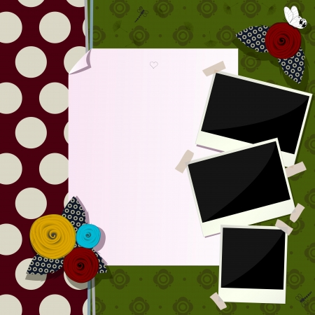 Vintage scrapbook composition with paper like flowers, antique photo frames and butterfly Stock Vector - 18349005