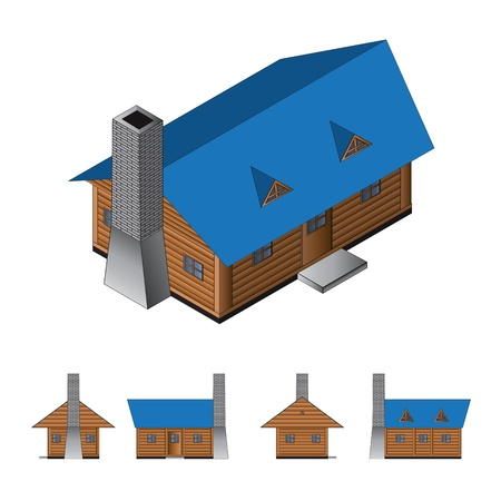 log cabin: Isometric drawing of a log cabin