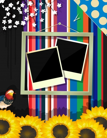 Scrapbook design decorated frame, abstract art Vector