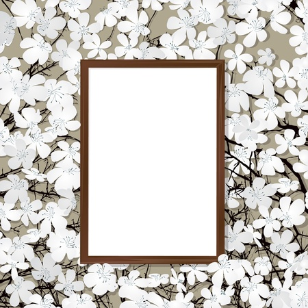 Empty wooden frame ona bed of flowers Vector