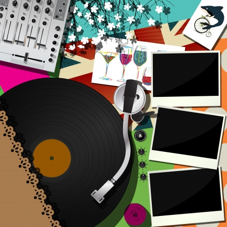 Scrapbook, collage design for dj a party  Abstract music theme background  Vector
