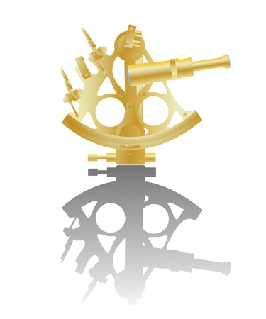 Illustration of a golden sextant instrument and reflection against white background Vector
