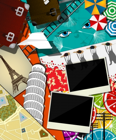 set template: Traveler background, collage, scrapbook design