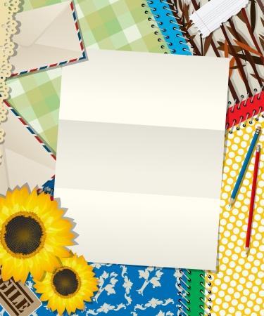 Scrapbook design, letter, empty sheet background Stock Vector - 18669587