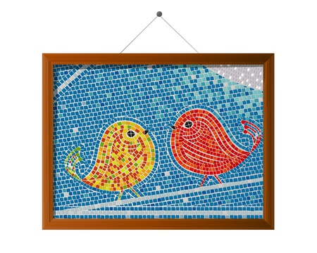 Mosaic tiles framed tweet birds background  Vector