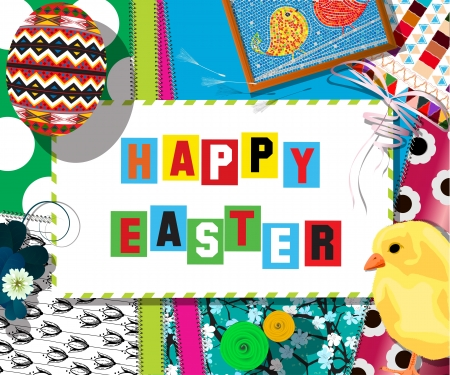 Easter celebration collage, scrapbook design  Vector