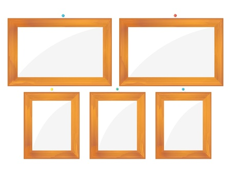 A collection of wooden frames over white background