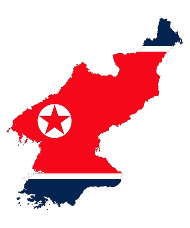 korea flag: Democratics People republic of Korea, detailed outline map and flag over white background. Illustration