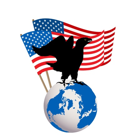 dominate: Victory icon of an american eagle with USA flag and globe