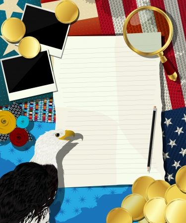 aguila real: EE.UU. marco, collage con American Eagle y diversos objetos.