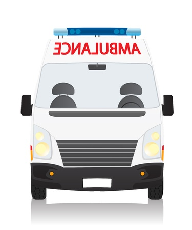ambulance car: Front view drawing of an ambulance, isolated object on white background