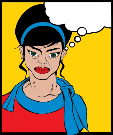 Retro looking angry woman  Pop Art illustration  Vector