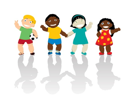 multiracial children: Happy kids of different ethnicity smiling and waving hands  Isolated and grouped over white background