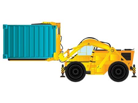 large build: Grande carrello elevatore costruzione in possesso di un contenitore, un oggetto isolato su sfondo bianco