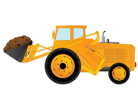 earth mover: Excavator, earth mover over white background