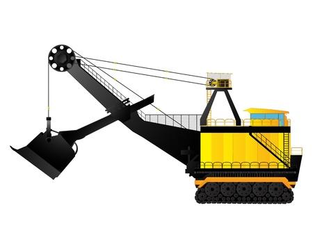 earthmover: Large build mining excavator against white background