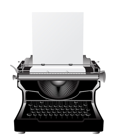 type writer: Vintage typewriter icon against white background