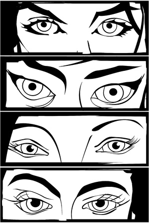 eyes wide open: Comic style drawing of four different woman eyes