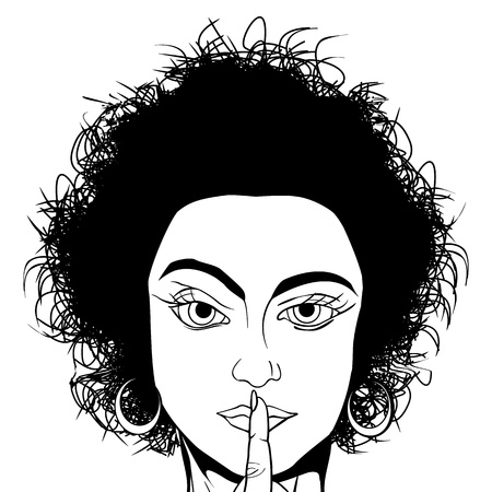 Comic style black and white drawing of a girl requestion silence