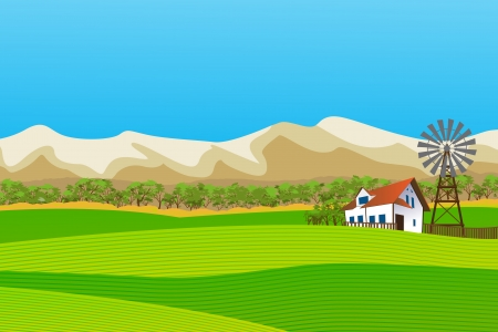 abstract mill: Rural landscape with isolated farm and mountains background