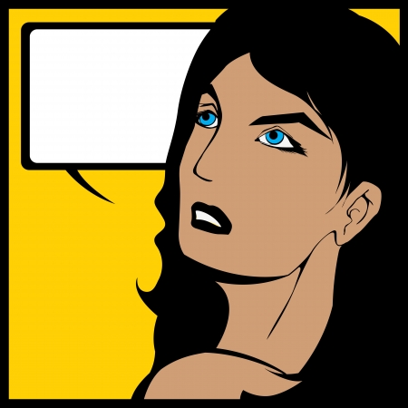 over the shoulder: Illustration of a woman looking over her shoulder and a speech bubble