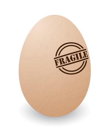 cracked egg: Conceptual illustration of a cracked egg with fragile stamp